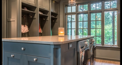 PB Kitchen Design Mud Room Glen Ellyn Laundry Room Washer Dryer Locker Custom Cabinetry